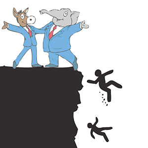 Democrats, Republicans throw workers off the cliff