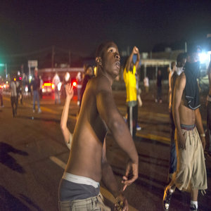 Protesters at night in Ferguson, Missouri, August 2014