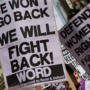 WORD placards in defense of women's rights