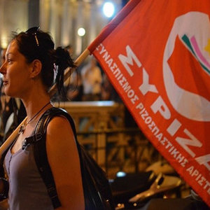woman with syriza flag