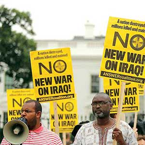 eugene speaking at no war on iraq rally
